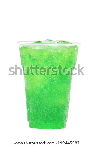 Green fruit flavor soft drinks whit soda water isolated on white - stock photo