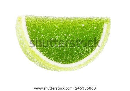 green fruit jelly, segments isolated on the white - stock photo