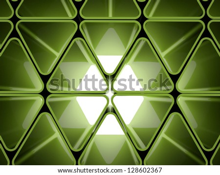 Green futuristic background from triangle elements - stock photo