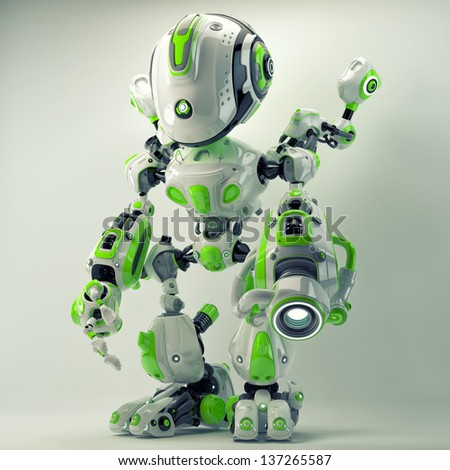 Green futuristic creature with gun and cute arm helpers. 3d render / Bright cyber toy - stock photo