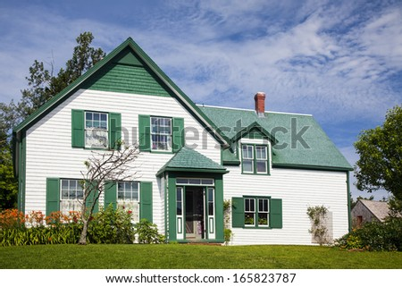 Green Gables House in Prince Edward Island National Park.  Made famous in the book 'Anne of Green Gables' by L M Montgomery. - stock photo