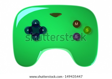 green game joystick on a light background - stock photo