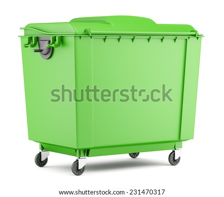green garbage container isolated on white background - stock photo