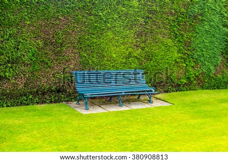 Green garden bench with green grass and  - stock photo