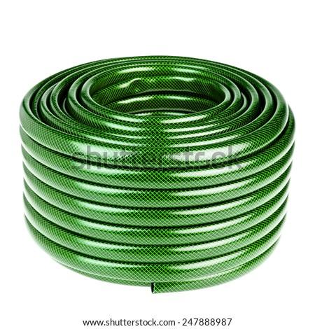 green garden hose isolated on white  - stock photo