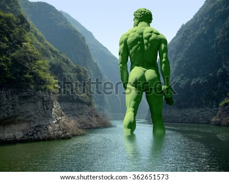 green giant seen from behind walking in a river - stock photo