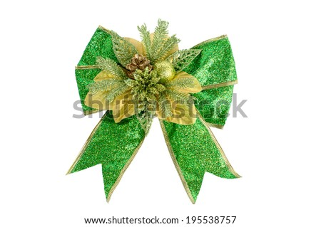 green gift bow. Ribbon. Isolated on white  - stock photo