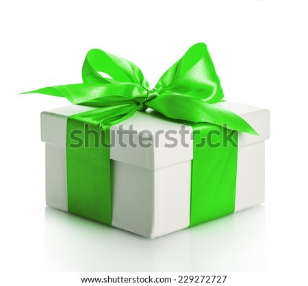 green gift box bow Isolated on white background - stock photo