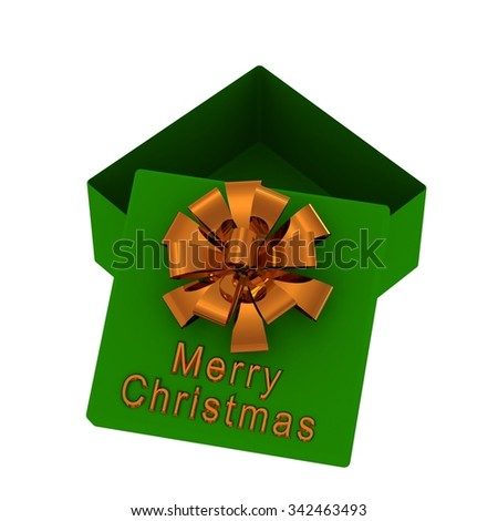 Green gift box with gold bow and inscription: Merry Christmas. Isolated on a white - stock photo