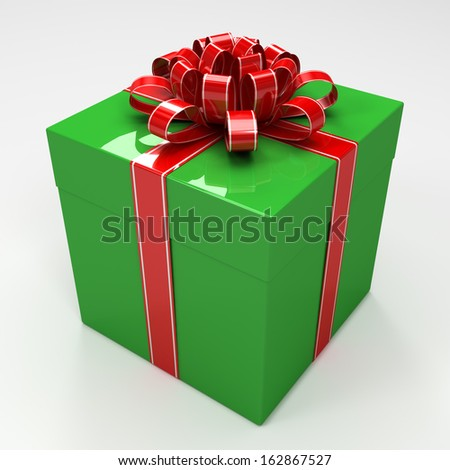 Green gift box with red ribbon - stock photo