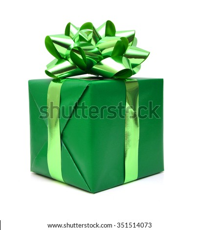 Green gift box with ribbon and bow isolated on the white background - stock photo
