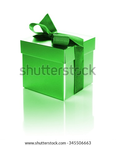 green gift box with ribbon isolated on white - stock photo