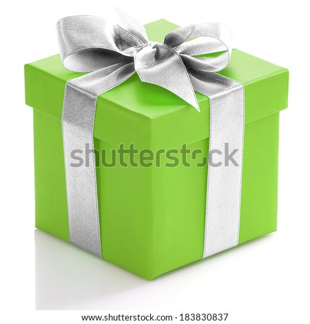 Green gift box with silver ribbon on white background.  - stock photo