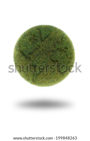 Green Globe ball made out of grass isolated on a white background.(Moss ball) - stock photo