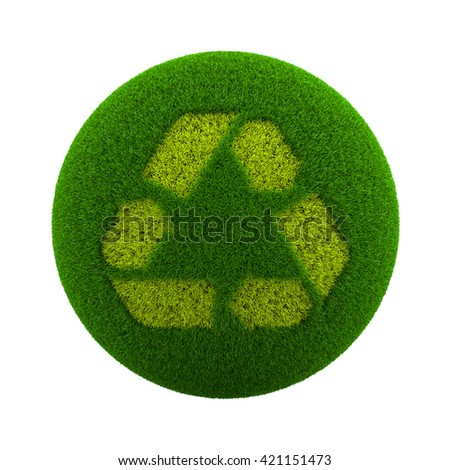 Green Globe with Grass Cutted in the Shape of Recycle Symbol 3D Illustration Isolated on White Background - stock photo
