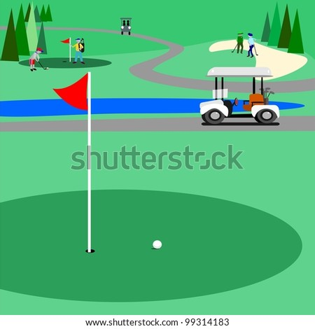 Green golf course.  Illustration of a golf course with people golfing and enjoying the game. There is a trail for the golf carts to use. - stock photo