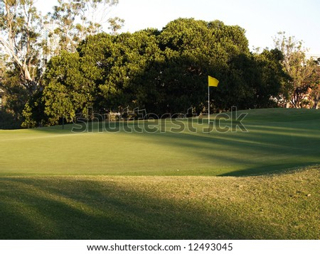 Green Golf Course Series - Putting green with flag - stock photo