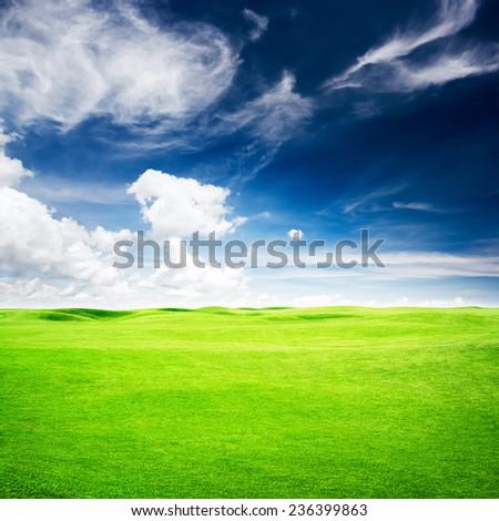Green golf field under blue sky background - stock photo