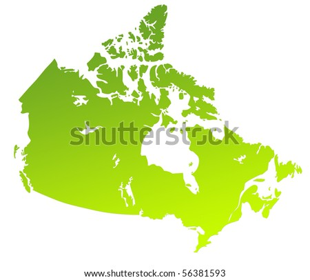 Green gradient map of Canada isolated on a white background. - stock photo
