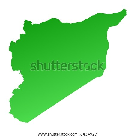 Green gradient Syria map. Detailed, Mercator projection. - stock photo
