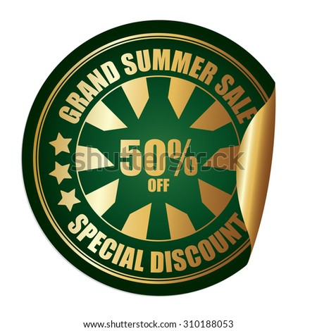 Green Grand Summer Sale 50% Off Special Discount Infographics Peeling Sticker, Label, Icon, Sign or Badge Isolated on White Background  - stock photo