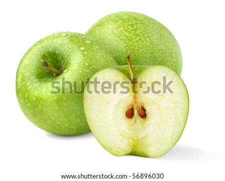 Green 'Granny Smith' apples isolated on white - stock photo