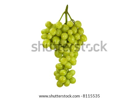 Green grape cluster on white background - stock photo
