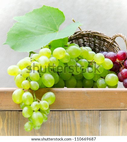 Green grapes in the basket - stock photo