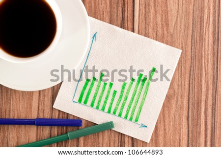 Green graphs on a napkin and cup of coffee - stock photo