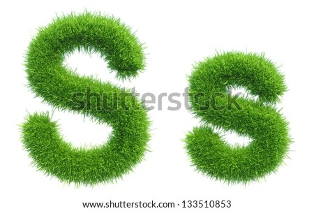 green grass alphabet isolated on white background - stock photo
