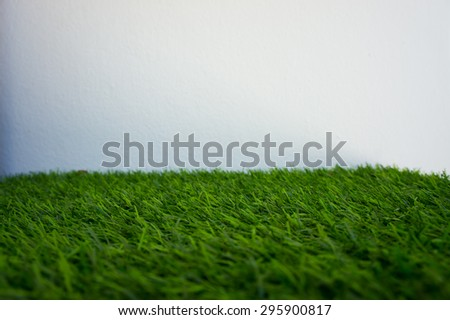 Green grass and white wall for background - stock photo