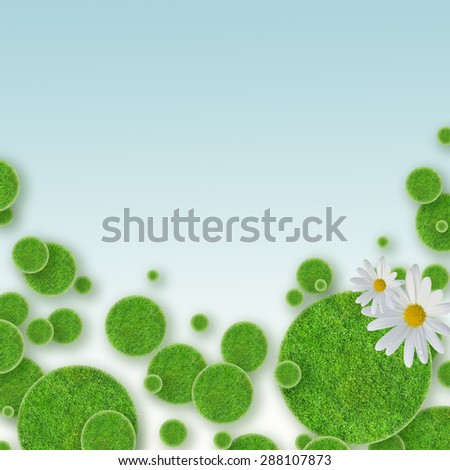 green grass circles background and daisy - stock photo