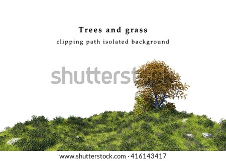 Green grass field and tree landscape  isolated on white background include clipping path. 3D illustration - stock photo