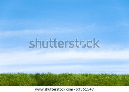 green grass field in foreground and blue cloudy sky in background with lot of copy space - stock photo