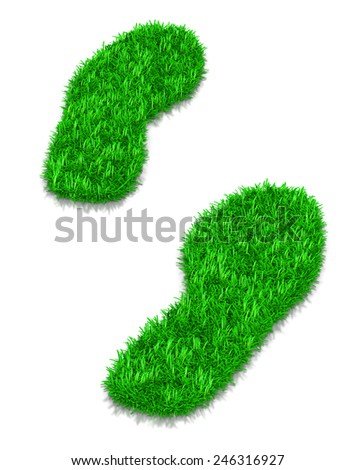 Green Grass Footsteps 3D Illustration on White Background - stock photo