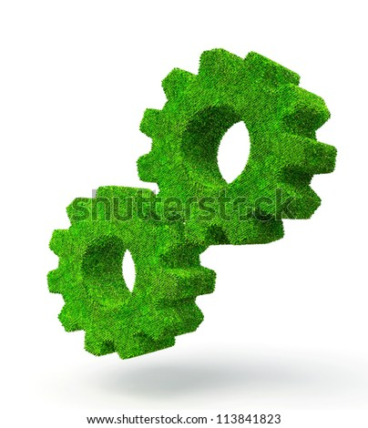 green grass gears isolated on a white background - stock photo