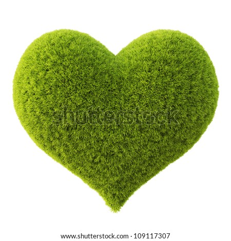 Green grass heart. Isolated on white. - stock photo