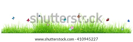 Green grass isolated on white background with flowers and butterflies - stock photo