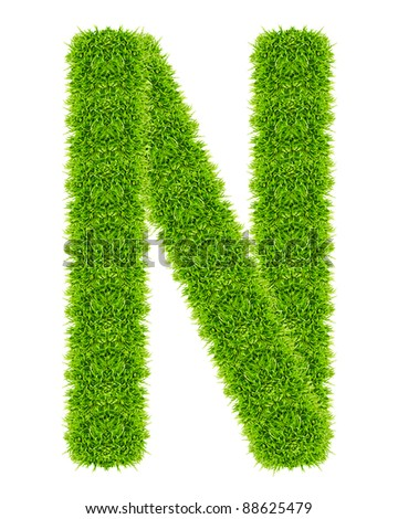 green grass letter N Isolated - stock photo