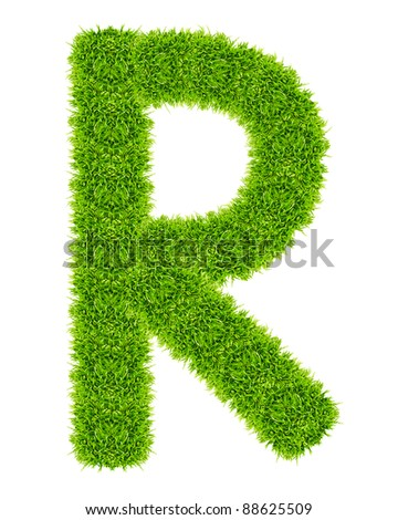 green grass letter R Isolated - stock photo