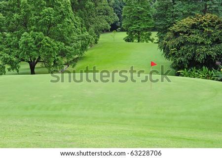 Green Grass Of A Golf Course - stock photo