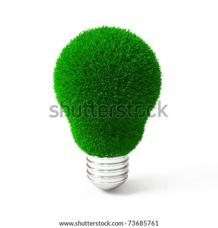 Green Grass Over Lamp - stock photo