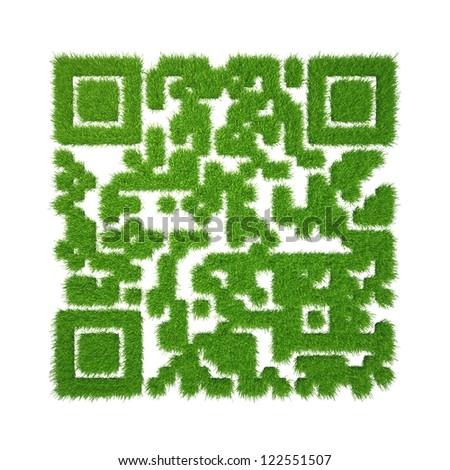 green grass qr-code - stock photo