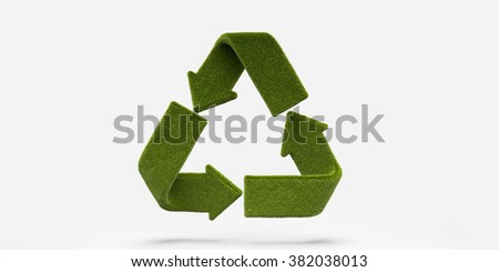 green grass recycle icon background - stock photo