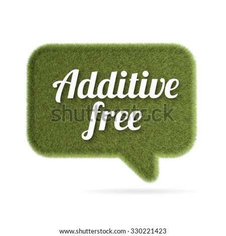 Green grass speech bubble sign with white text additive free - stock photo