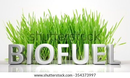 Green grass with Biofuel 3D text, isolated on white background. - stock photo