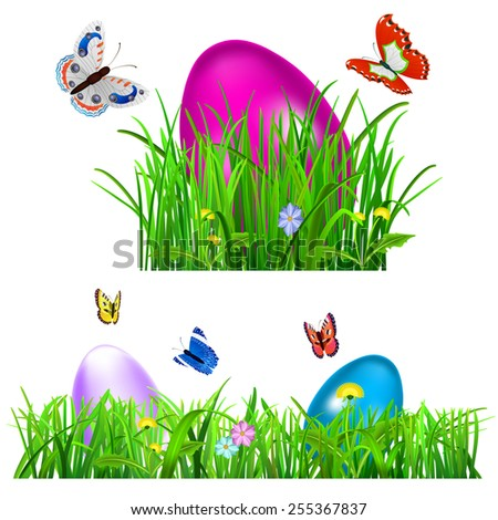 Green grass with Easter eggs, flowers and butterflies on white background - stock photo