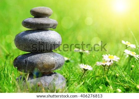 Green grass with stones and daisies, soft focus. Spa concept - stock photo