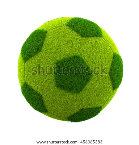 Green Grassy Soccerball Isolated on White Background 3D Illustration - stock photo