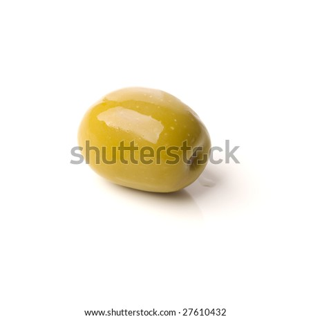 green greek olive on white background - healthy eating - stock photo